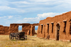Fort Union National Monument. Old wagon and adobe ruins at Fort Union National Monument, NM Royalty Free Stock Images