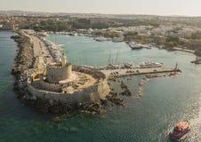 Fort von Sankt Nikolaus in Rhodos Stockfotografie