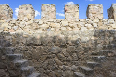 Fort wall medieval stone tower in the city of Toledo, Spain, anc Stock Photography