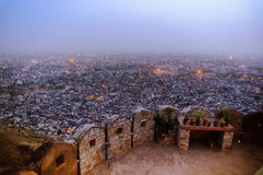 Fort walls at Nahargarh fort with a view of jaipur Royalty Free Stock Images