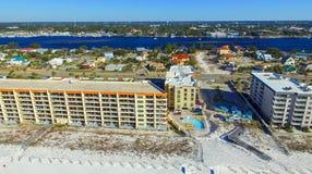 FORT WALTON FL, LUTY, - 2016: Widok z lotu ptaka miasto i żakiet f obrazy royalty free