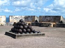 Cannon Balls - Fort San Cristobal - San Juan Puerto Rico. The fort was built by Spain to protect against land based attacks on the city of San Juan stock image
