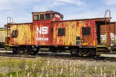 Fort Wayne - Circa April 2017: Norfolk Southern Railway Caboose Train. NS is a Class I railroad in the US and is listed as NSC IV Royalty Free Stock Photo