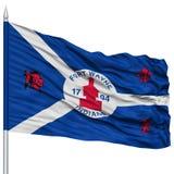 Fort Wayne City Flag sur le mât de drapeau, Etats-Unis Photographie stock libre de droits