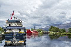 Fort William , Scotland - May 19 2017 : Lord of the glens anchoring in the harbour of Fort William. FORT WILLIAM , SCOTLAND - MAY 19 2017 : Lord of the glens royalty free stock images