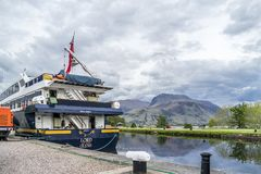 Fort William , Scotland - May 19 2017 : Lord of the glens anchoring in the harbour of Fort William. FORT WILLIAM , SCOTLAND - MAY 19 2017 : Lord of the glens stock photo
