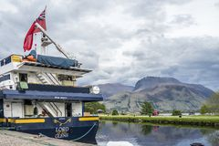 Fort William , Scotland - May 19 2017 : Lord of the glens anchoring in the harbour of Fort William. FORT WILLIAM , SCOTLAND - MAY 19 2017 : Lord of the glens royalty free stock image