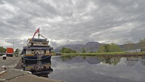 Fort William / Scotland - May 20 2017 : The Lord of the Glens is waiting to pass the locks at Corpach stock footage