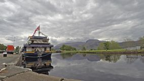 Fort William / Scotland - May 20 2017 : The Lord of the Glens is waiting to pass the locks at Corpach stock video