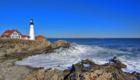 Fort Williams Lighthouse. In late January Royalty Free Stock Photo