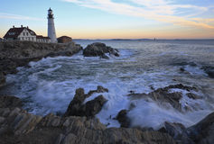 Fort Williams Lighthouse. In South Portland Maine in winter Stock Image