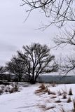 Fort Williams Park, Cape Eiizabeth, Cumberland County, Maine, United States New England US. Water view at Fort Williams Park on a cold cloudy blustery snowy stock image