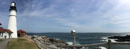 Fort Williams, Portlandzki Maine panoramiczny widok zdjęcie stock
