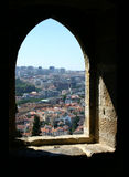 Fort Window. City through a window in a Portuguese fort Stock Photos
