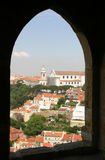Fort Window View. City through a window of St. Georges Castle Stock Images
