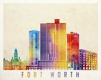 Fort Worth landmarks watercolor. Fort Worth landmarks in watercolor poster Stock Image