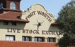 A Fort Worth Livestock Exchange Building, Texas. FORT WORTH, TEXAS, MARCH 15. The Fort Worth Stockyards on March 15, 2017, in Fort Worth, Texas. A Fort Worth royalty free stock photography