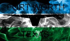 Fort Worth miasta dymu flaga, Teksas stan, Stany Zjednoczone Americ Fotografia Stock