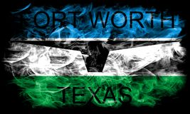 Fort Worth miasta dymu flaga, Teksas stan, Stany Zjednoczone Ameryka royalty ilustracja