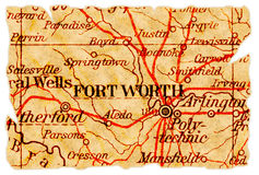 Fort Worth old map. Fort Worth, Texas on an old torn map from 1949, isolated. Part of the old map series Stock Image