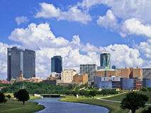 Fort Worth Skyline. Fort Worth Texas under clouds stock images