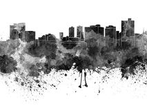 Fort Worth skyline in black watercolor Royalty Free Stock Image