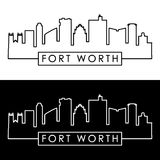 Fort Worth skyline. Linear style. Editable vector file Royalty Free Stock Photo