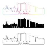 Fort Worth skyline linear style with rainbow Royalty Free Stock Photos
