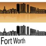 Fort Worth skyline in orange Royalty Free Stock Photo