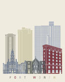 Fort Worth skyline poster. In editable vector file Stock Photography