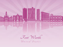 Fort Worth skyline in purple radiant orchid Stock Image