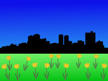 Fort Worth Skyline in spring Royalty Free Stock Image