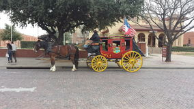 Fort Worth Stock yards. Horse wagon cowboy stock photo