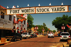 The Fort Worth Stock Yards. Preserves an era when the city was one of the largest cattle transfer points in the world stock image