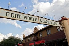Fort Worth Stock Yards, Texas. Fort Worth Stockyards is a historic district that is located in Fort Worth, Texas, north of the central business district. The 98 royalty free stock image