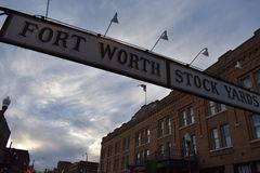 Stock yards of Fort Worth Texas. Fort Worth stock yards on a warm May Day. A must visit spot for any Texan stock photo