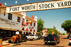 Fort Worth Stockyards. Mounted Police patrol the Ft Worth Stockyards Texas stock images