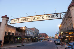 Fort Worth Stockyards at night. Texas, USA Royalty Free Stock Photo