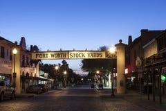 Fort Worth Stockyards przy nocą Teksas, usa Fotografia Stock