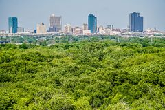 Fort worth texas city skyline in a distance stock image