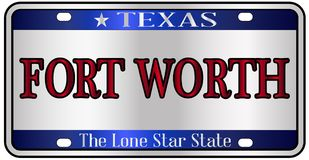 Fort Worth Texas License Plate illustration stock