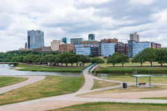 Fort Worth, Texas Skyline. Fort Worth, Texas city skyline from across the Trinity river stock photo