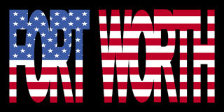 Fort Worth text with flag. Fort Worth text with American flag illustration Royalty Free Stock Photography