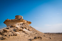 Fort in the Zekreet desert of Qatar, Middle East. Ruins of an old fort Royalty Free Stock Photography