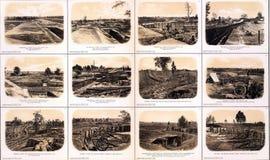 Fortalecimientos, artillería y fosos Foto de archivo libre de regalías