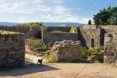 Fortalecimientos destruidos antiguos Vista de la fortaleza de Spanjola en la ciudad de Herceg Novi, Montenegro fotos de archivo