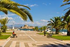 Fortaleza Bourtzi, puerto de Nafplion, Grecia Fotografía de archivo libre de regalías
