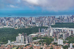 Fortaleza Cityscape Aerial View. Aerial view from window plane of Fortaleza city, Brazil Royalty Free Stock Photo