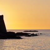 A fortaleza de Algajola no crepúsculo Fotografia de Stock