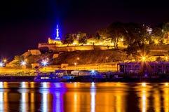 Fortaleza de Belgrado Kalemegdan na noite 1 Foto de Stock